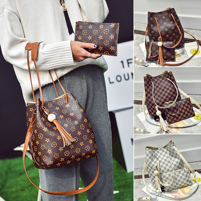 Ladies Luxury Pattern Printed Composition Shoulder Bucket Bag/ 2pc per Set