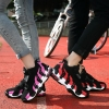 Sporty Hipster Couple Fashion Color Merged Classic Black Pattern Designs Thick Bottom Comfy Air Cushion Sneaker