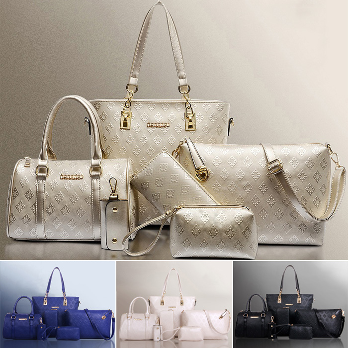 Fashion Europe Retro Big Thick Quilted Handbag / 6pcs Set