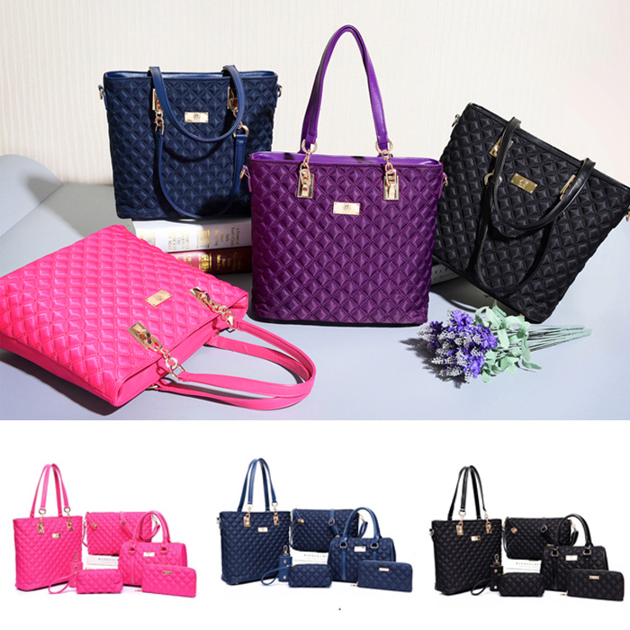 Quilted Nylon Women Bags /6pcs per Set