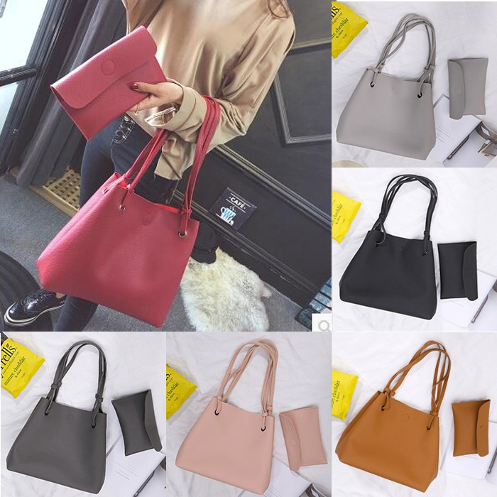 Classic Lychee Grain Women Casual Tote Bag /2pcs per Set