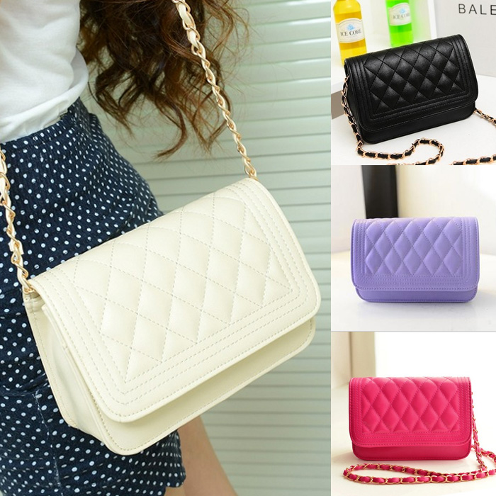Fashion Small Fragrant Wind Quilted Chain Shoulder Diagonal Mini Packet Bag