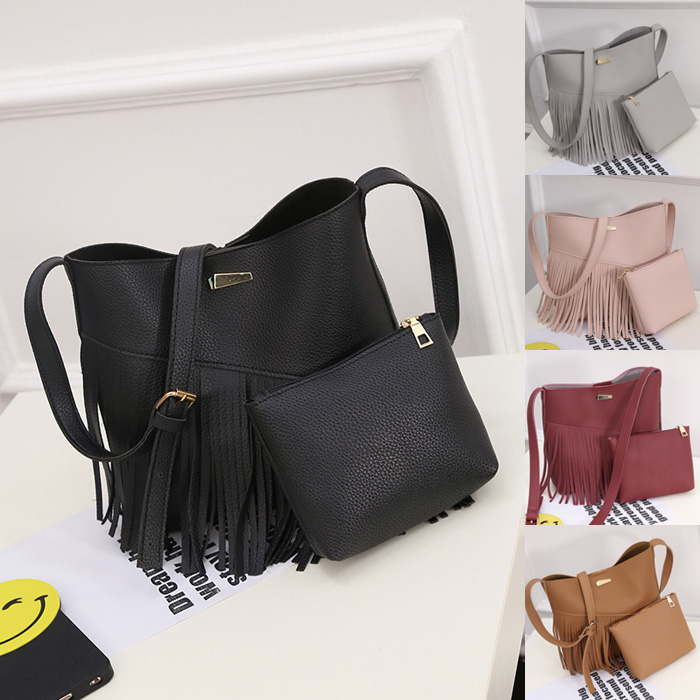 Korean Women's Fashion Tassel Composite Tote Bag /2pcs per Set