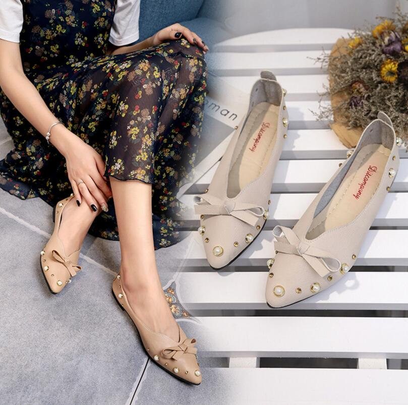 Beautiful Charming Pearls Beaded Bow Pattern Designs Elegant Ladies Pointed Flat Shoes