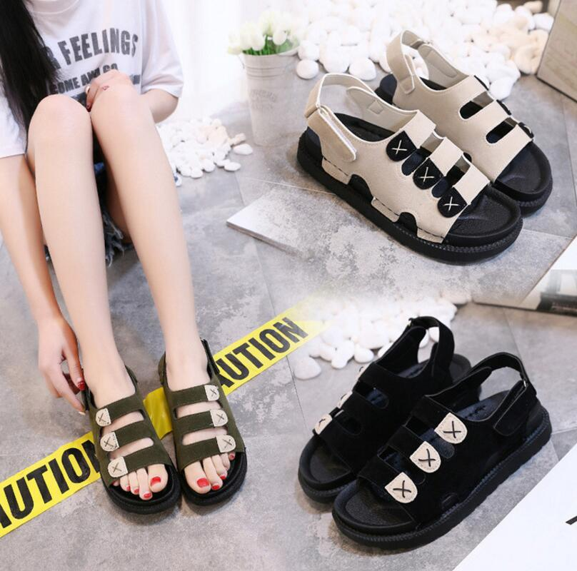 Korean In-styles Ladies Fashion Open-toes Thick Bottom Hook And Loop Closure Strap Suede Sandals