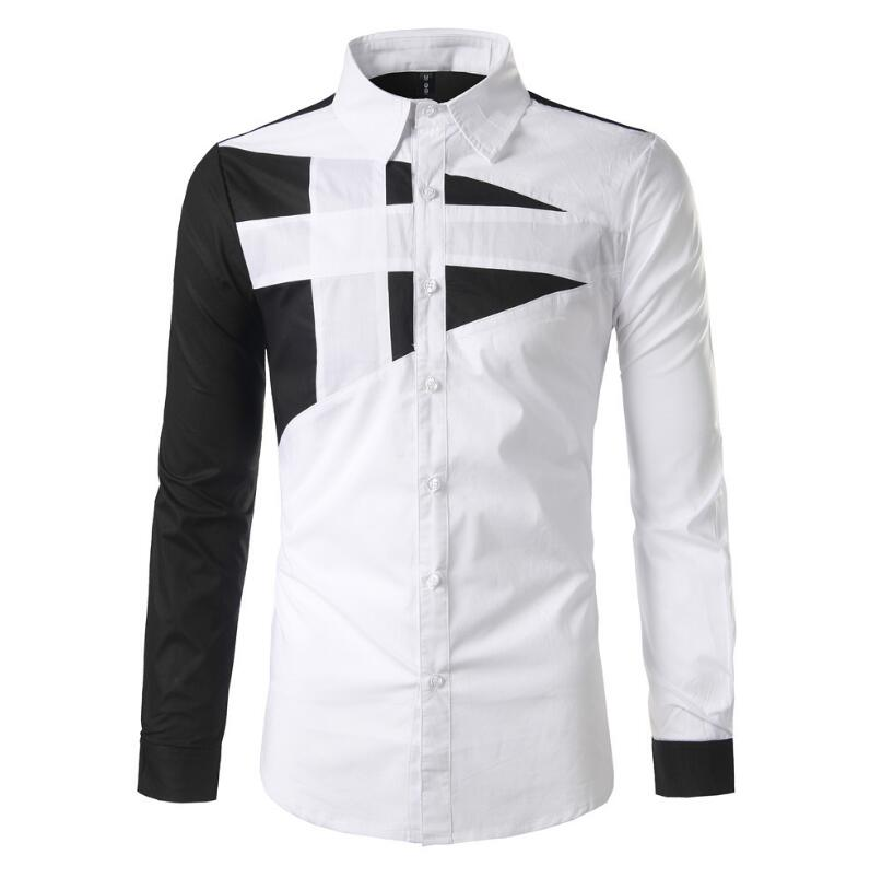 Hipster Men's Color Merged Pattern Designs Slim Fit Smart Formal Long-sleeve Buttons Shirt