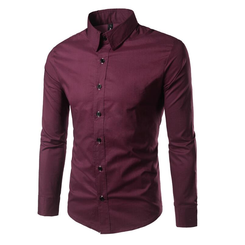 Flashy Bright Plains Color Pattern Designs Simple Smart Formal Slim Fit Men's Long-sleeve Shirts