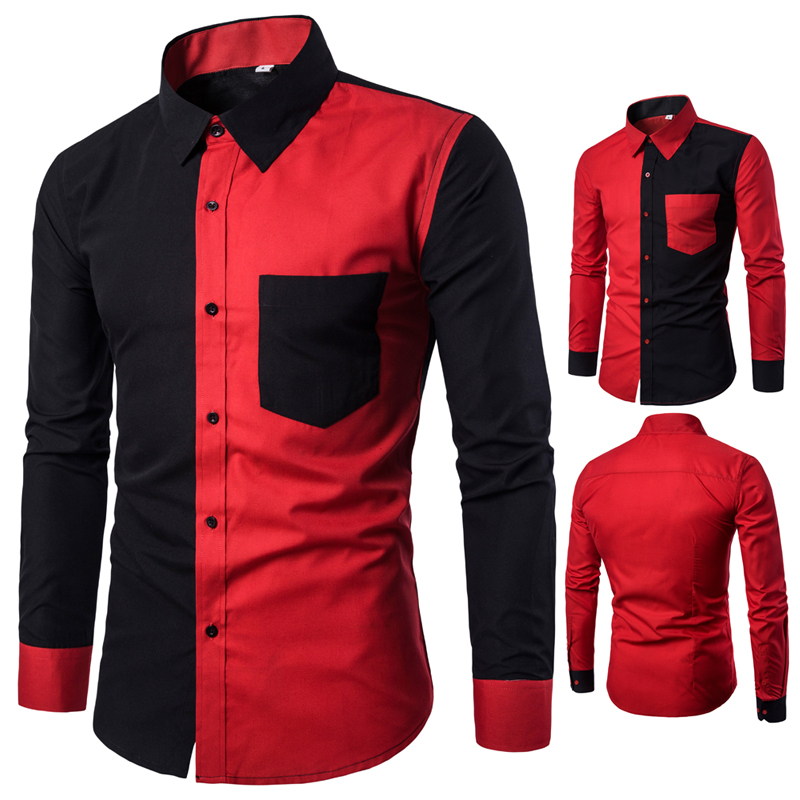 Korean Men's Fashion Red And Black Casual Long-sleeved Collar Shirt