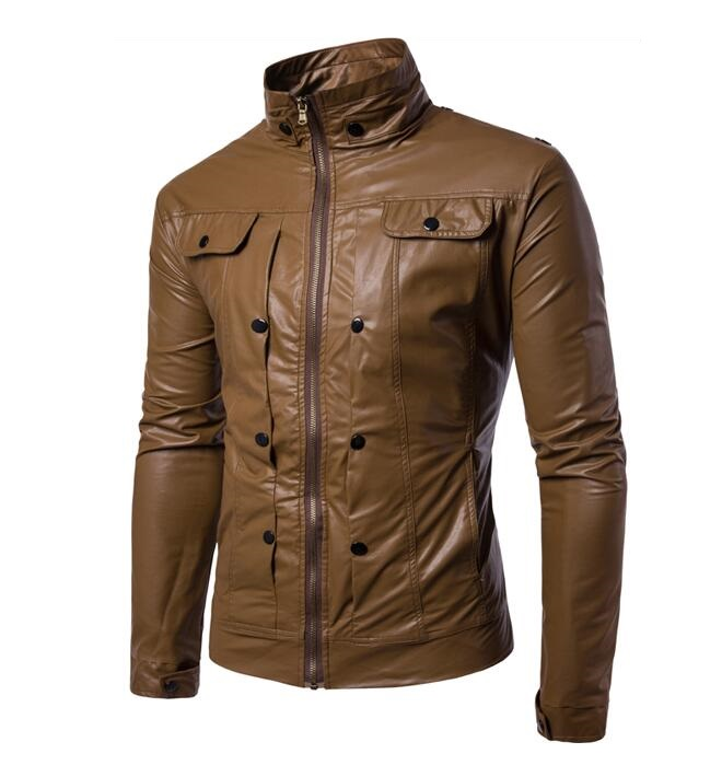 Hipster Men's Classic Stand Collar Designs Zip Leather Jacket