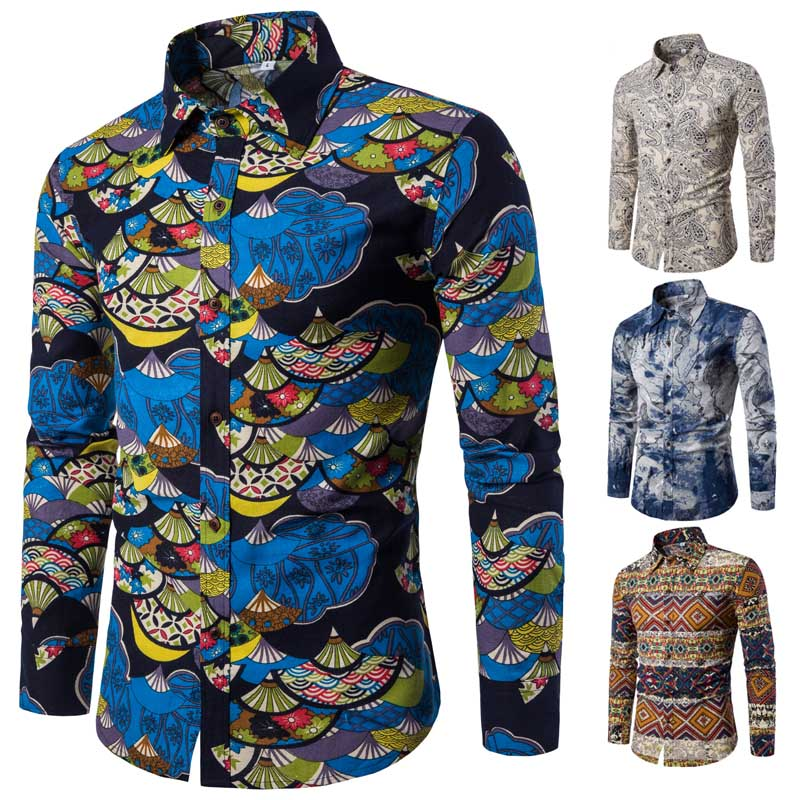 Korean Men's Fashion Retro Fancy Design Printed Casual Long-sleeved Collar Shirt
