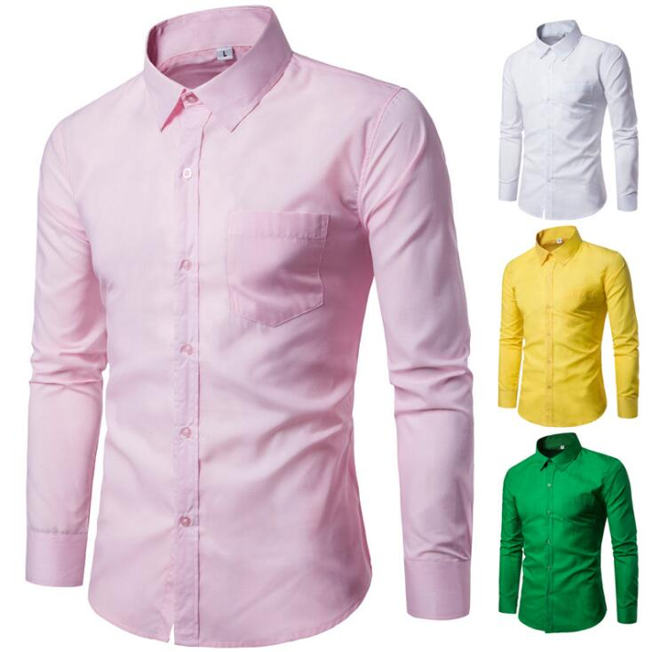 Color Plains Designs Simple Smart Casual Men's Slim Fit Long-sleeve Buttons Shirt