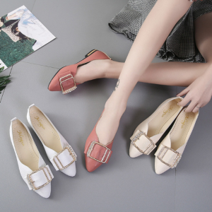 Korean Women's Fashion Belt Design Pointed Head Casual Flat Cover Shoes