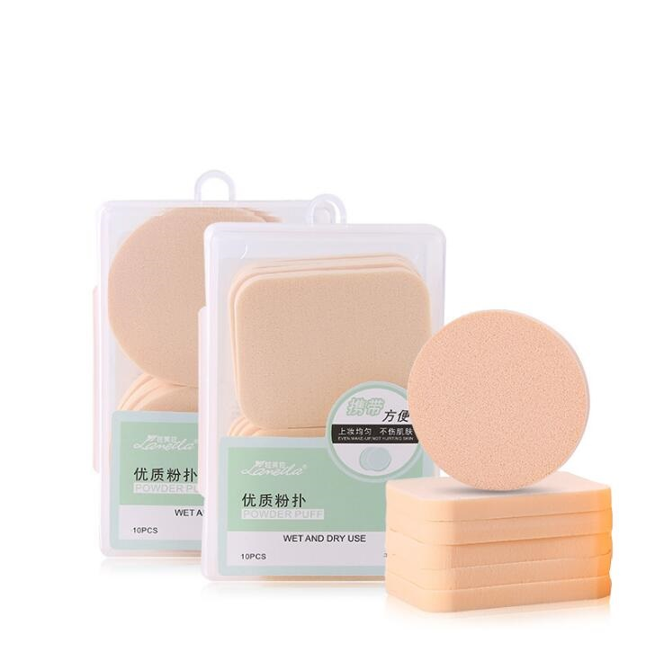 Beauty Hydrophilic Round Square Makeup Sponge Wet and Dry Use Powder Puff /10pcs per pax