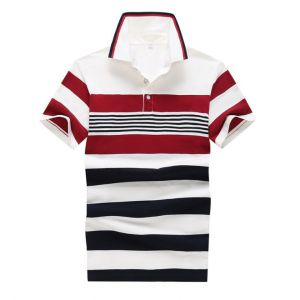 Men's Business Leisure Cotton Short-sleeved Stripes Merged Colors POLO Shirts