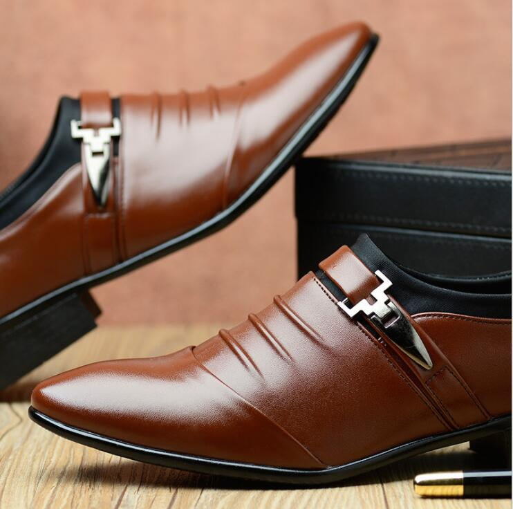 British Business Men's Casual Leather Pointed Toe Single Strap Monk Shoes