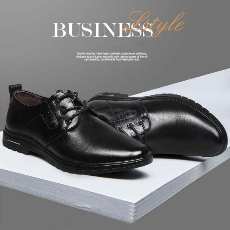 British Fashion Men's Business Casual Smooth Plain Leather Comfortable Derby Shoes