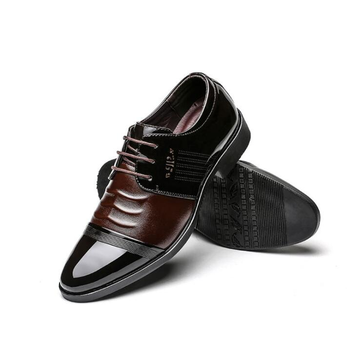 British Men's Business Casual Exquisite Comfortable Cap-toe Shinny Leather Derby Shoes