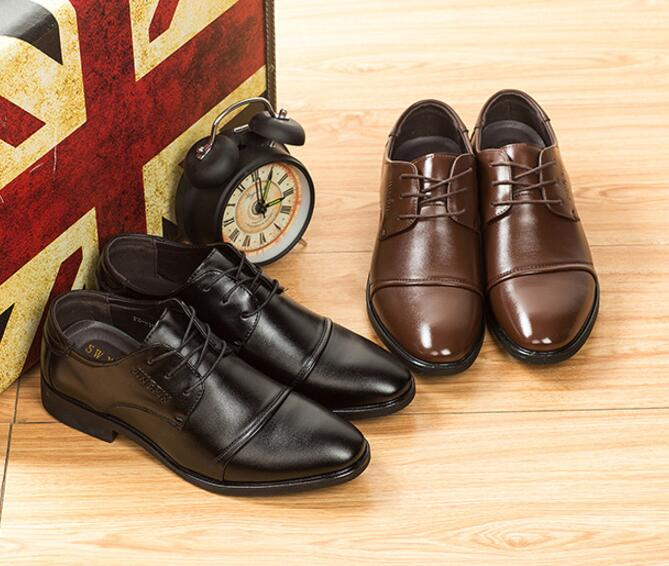 Trendy Business Casual Men's Plain Toe Leather Classical Leather Derby Shoes
