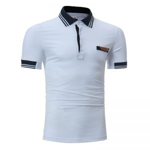 Casual Simple Men's Outfits Stripes Collar Design Short-sleeved POLO Shirts