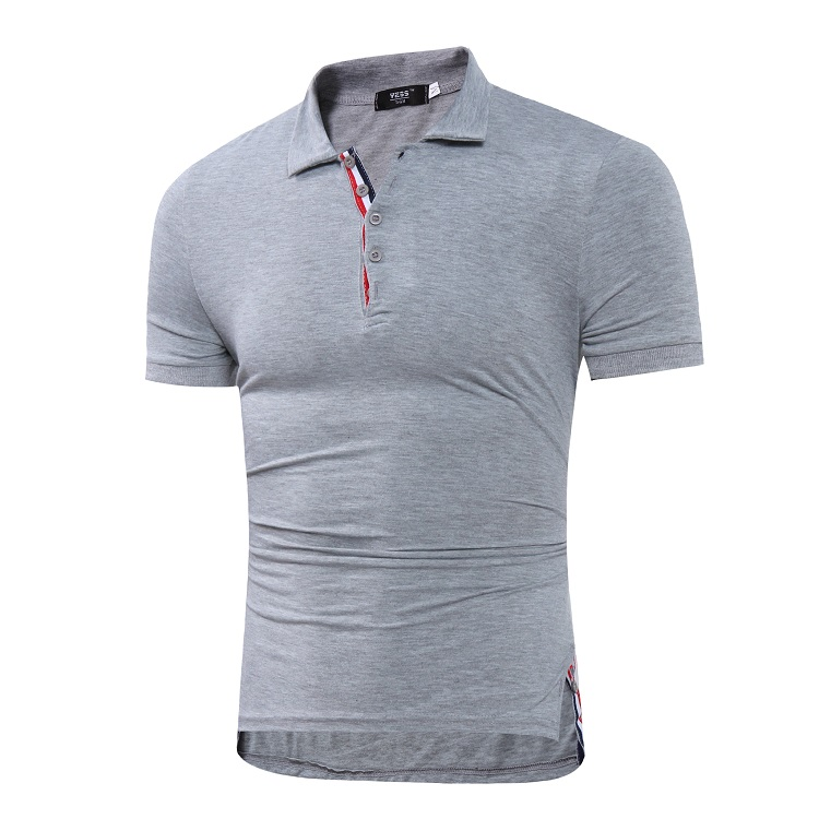 Simple Leisure Men's Outfits Solid Plain Color Short-sleeved Slim Fit Collar POLO Shirts