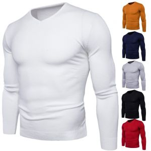 Casual Simple Men's Outdoor Outfits Solid Colors V-neck Comfortable Slim-fit Woolen Knitted Sweater