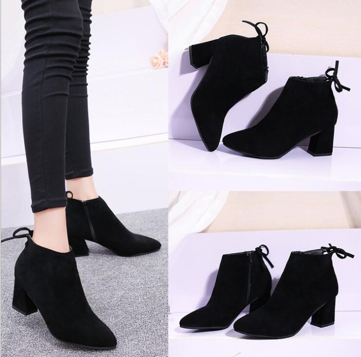 European Women Fashion Elegant Pointed Toe Rear Tie Design Side Zipper Thick Heels Suede Leather Martin Boots