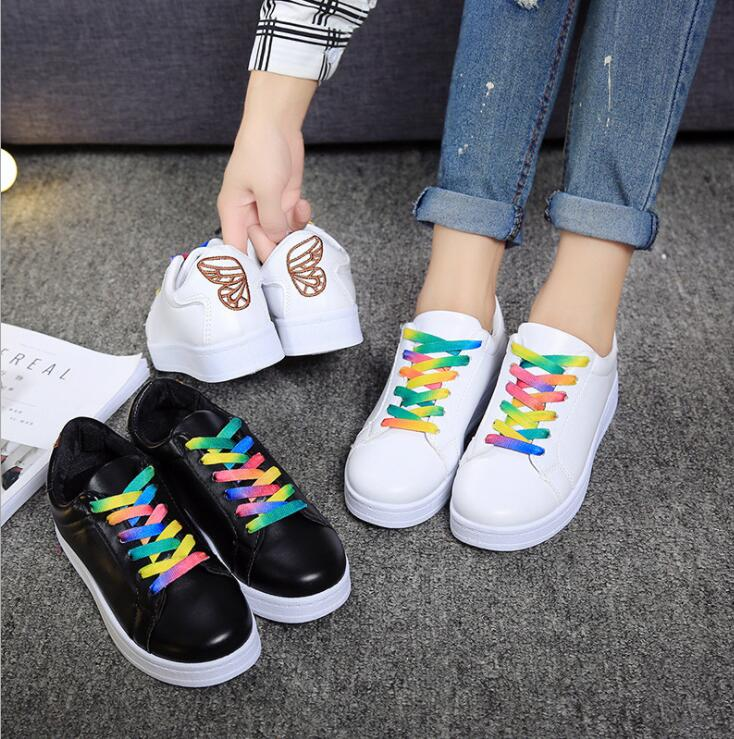 Korean Women's Casual Outdoor Sport Colorful Shoelace Wings Embroidery Thick Soles Sneakers