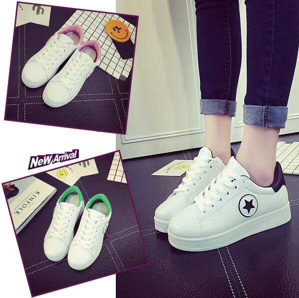 Korean Women's Casual Outdoors Running Thick Soles Stars White Sports Shoes Sneakers