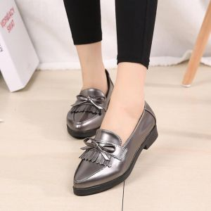 Retro Britain Women's Shinny Leather Tassels Ribbon Bow Tie Elegant Pointed Toe Loafers