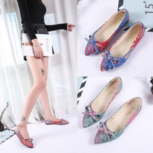 Korean Trendy Women's Outdoor Butterfly Knots Colorful Weave Design Pointed Toe Ballerina Flats Shoe