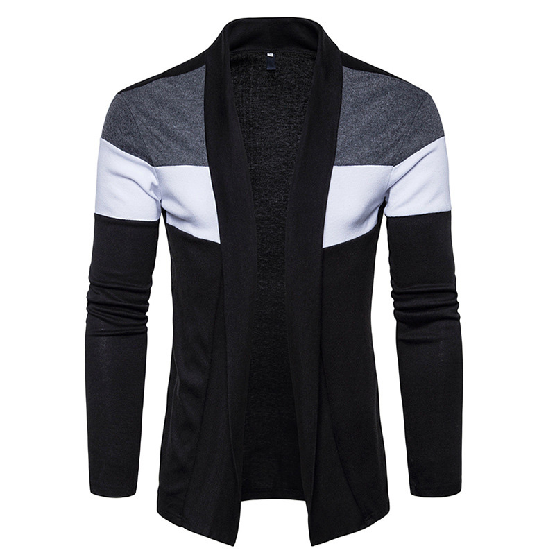 European Men\'s Fashion Stripe Color Design Casual Knitted Button Cardigan Jacket