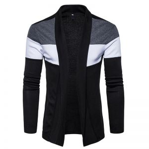 European Men's Fashion Stripe Color Design Casual Knitted Button Cardigan Jacket