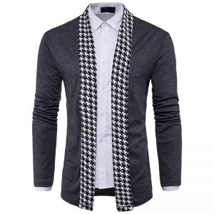 European Men's Fashion Houndstooth Pattern Design Casual Knitted Cardigan Jacket