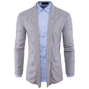European Men's Fashion Ripped Pattern Design Casual Knitted Jacket