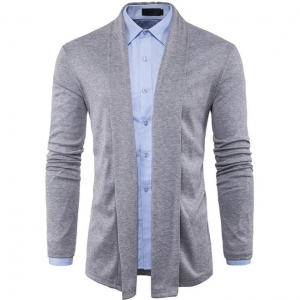European Men's Fashion Simple Plain Color Casual Comfortable Knitted Cardigan Jacket