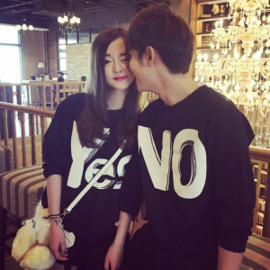 Korean Couple Fashion Yes No Letter Printed Casual Loose Sweater