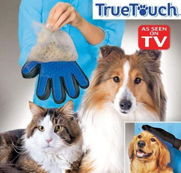 Gentle Efficient Pet Grooming True Touch Five Finger De-shedding Silicone Glove