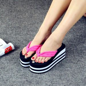 Thick Stripes Bottom Pattern Designs Soft Comfy Cotton Clip-toes Beach Ladies Wedges Sandals