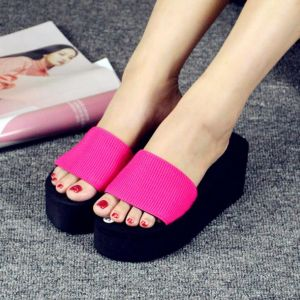 Graceful Ladies Simple Beach Wear Open-toes Thick Bottom Wedges Sandals