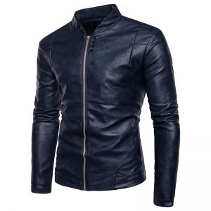 Korean Men's Pure Solid Color Standing Collar Trendy Simple Leather Jacket Outfit