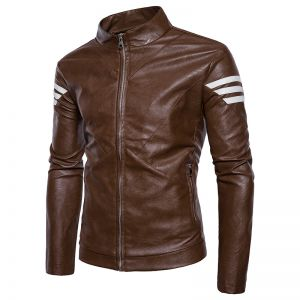 Korean Trendy Men's Standing Collar Stripes Stitching Sleeved Casual Leather jacket