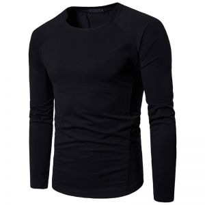 Korean Men's Fashion Plain Color Round Neck Casual Long-sleeved T-shirt