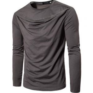Simple Plains Color British Men's Fashion Front Ruffles Pattern Designs Long-sleeve Tee Shirts