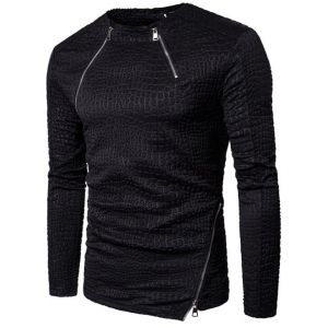 Hipster Men's Fashion Classic All Black Color Camouflage Pattern Embossed Slim Sweater
