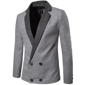 Two-tones Color England Fashion Stylish Formal Men's Double-breasted Coat Suit