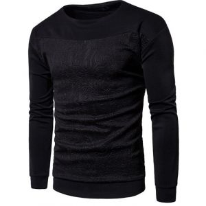 Classic Black Color Swag Men's Fashion Camouflage Pattern Embossed Round-neck Sweater