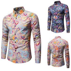 Old-school Men's Fashion Colorful Paisley Pattern Printed Long-sleeve Slim Buttons Shirts