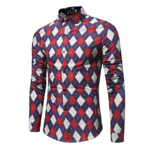 In-styles Classy Men's Checker Pattern Printed Slim Fit Long-sleeve Buttons Shirts