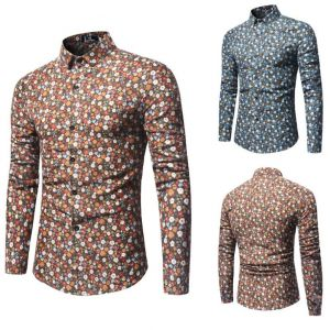 Hipster Men's Floral Pattern Designs Slim Fit Long-sleeve Button Shirts