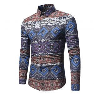 Classy Oxford Men's Fashion Colorful Layered Paisley Pattern Designs Slim Fit Long-sleeve Buttons Shirt
